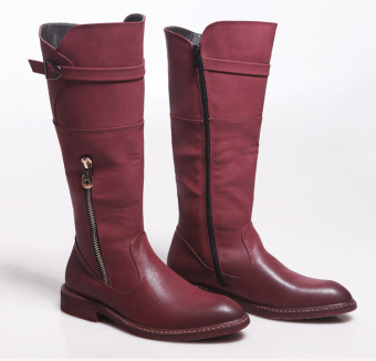 Ouzhouzhan British Red barreled shoes KNIGHT boots (Red)