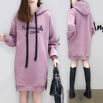 Ouzhouzhan embroidered autumn New style Plus-sized hoodie dress (Purple)