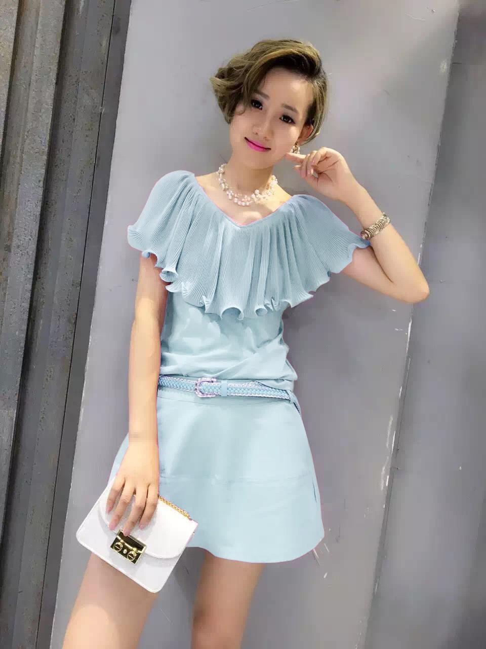 Philippines Ouzhouzhan Fashion Female New Style Flounced Two Piece