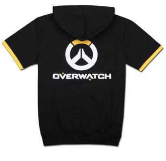 Overwatch Symbol Game Cosplay T-shirt Cotton Tops Casual ShortSleeve Zip Sweater Unisex Shirt (Black) - 3
