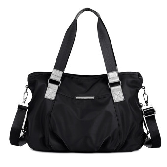 Oxford Cloth waterproof nylon women's large bag female handbag (Black)