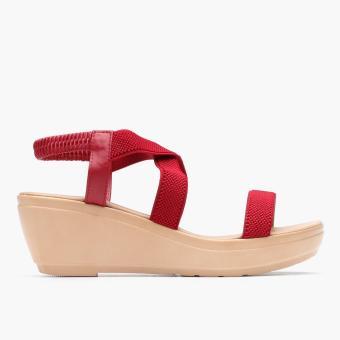 Parisian Basic Ladies Merie Wedge Sandals (Red)