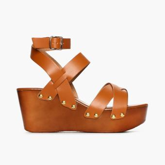Parisian Ladies Bern Wedge Sandals (Tan)