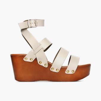 Parisian Ladies Berny Wedge Sandals (Bone)