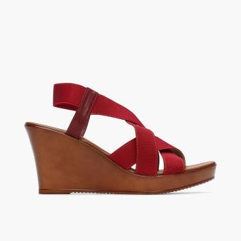 Parisian Ladies Veo Wedge Sandals (Maroon)