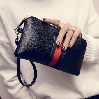 Party Fashion Handbag for Women Cowhide Leather Long Wallet Wrist Bag Vertical Stripe Clutch Portable Business Phone Bag(Black) - intl