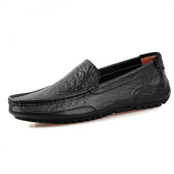 PATHFINDER Men Driving Leather Loafers Shoes Slip Ons (Black)