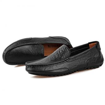 PATHFINDER Men Driving Leather Loafers Shoes Slip Ons (Black) - 5