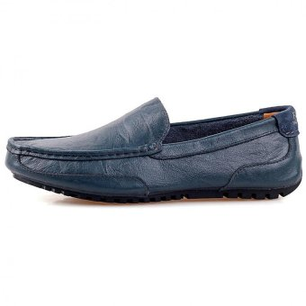 PATHFINDER Men Driving Leather Loafers Shoes Slip Ons (Blue) - 3