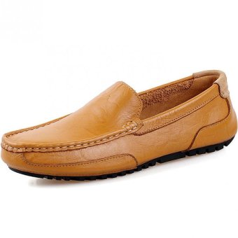 PATHFINDER Men Driving Leather Loafers Shoes Slip Ons (Brown)
