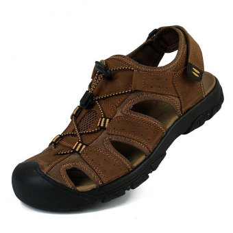PATHFINDER Men Flat Leather Sporty Slipper Sandals Shoes (Brown)
