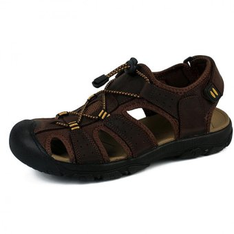 PATHFINDER Men Flat Leather Sporty Slipper Sandals Shoes (Coffee)