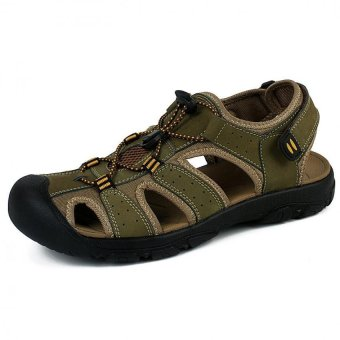 PATHFINDER Men Flat Leather Sporty Slipper Sandals Shoes (Green)