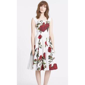 Patrice Cotton 3D Print Floral Midi Dress (White) Price Philippines