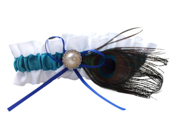 Peacock Feather Bridal Wedding Prom Satin Garter (Green/White)