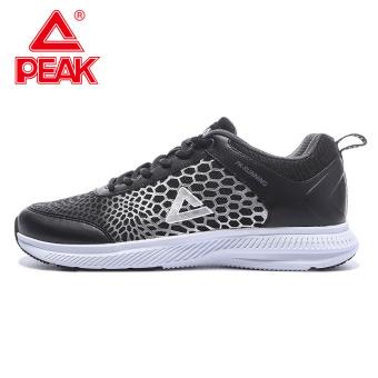 Peak breathable mesh men's student lightweight sports shoes men's shoes (Black)