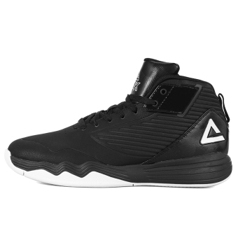 Peak hight-top official authentic wear and shock absorption sports shoes basketball shoes (Black/Large White)
