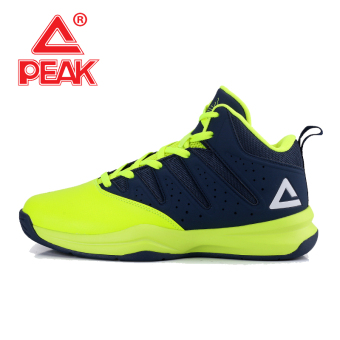 Peak official autumn and winter wear non-slip I shoes basketball shoes (Flourescent yellow/Dian Lan)