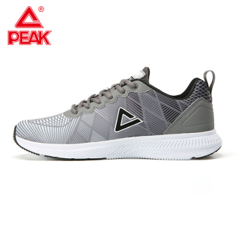 Peak summer New style mesh lightweight running shoes men's shoes sports shoes (Steel gray/Black)