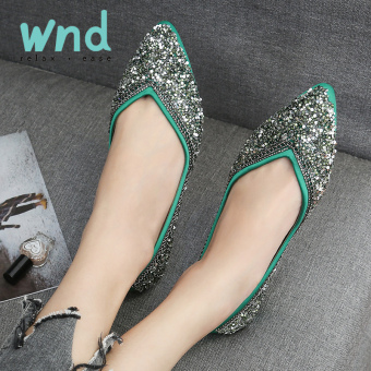 Peas Korean-style diamond Spring and Autumn New style pointed flat shoes (X1174 green)