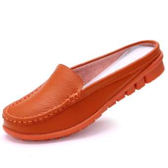 Peas Shishang leather flat heel mother maternity shoes and comfortable sandals and slippers (288 orange)