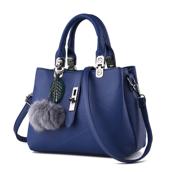 PECARSINE European and American embossed leather buckle shoulder women's bag New style women's bag (Dark blue color)