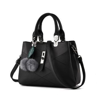 PECARSINE European and American embossed leather buckle shoulder women's bag New style women's bag (Elegant black)