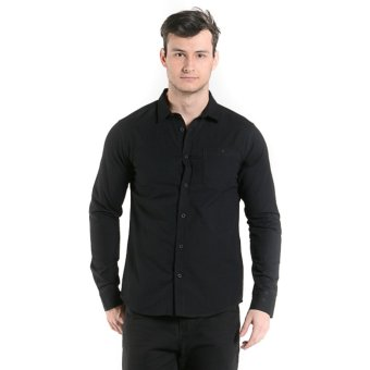 Penshoppe Long Sleeves Shirt With Buttoned Collar (Black)