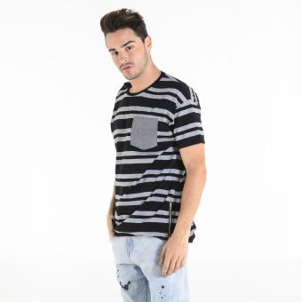 PENSHOPPE Men's Striped Long-Line Crewneck Tee (Black)