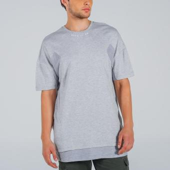 Penshoppe Oversized Tee With Cut & Sew Panel (Gray) - 4