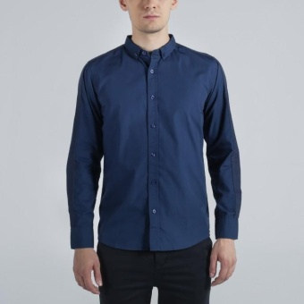 Penshoppe Poplin Shirt With Cut & Sew Panel (Navy Blue)