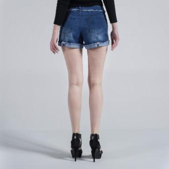 Penshoppe Re-Tooled Denim Shorts (Blue) - 3
