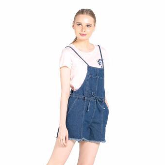Penshoppe Regular Fit Jumper Shorts With Frayed Hem (Blue) - 2