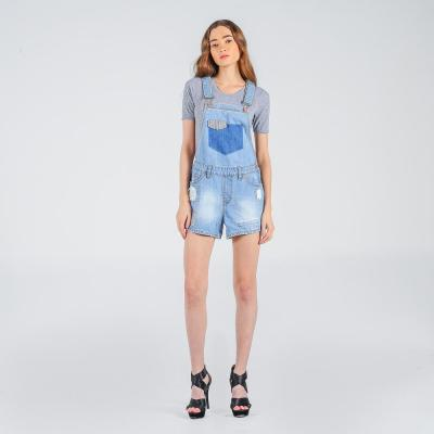 Penshoppe Regular Fit Jumper Shorts With Ripped And Repaired Detail (Blue)