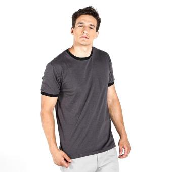 Penshoppe Semi Fit Tee With Contrast Trim (Dark Gray)