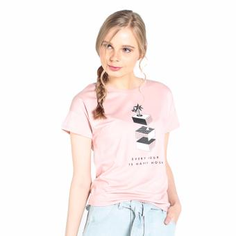 Penshoppe Semi Fit Tee With Graphic Print (Blush) Price Philippines