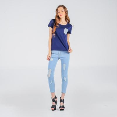 Penshoppe Semi Fit Tee With Pocket Detail (Navy Blue)