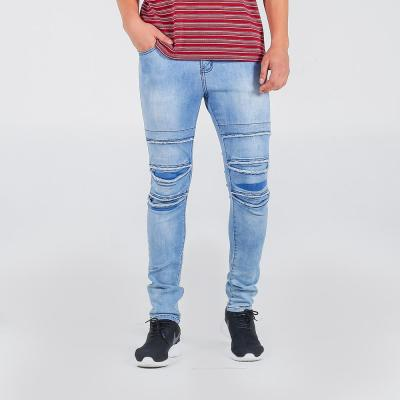 Penshoppe Skinny Fit 5-Pocket Jeans With Ripped And Repaired Detail(Powder Blue) - 3