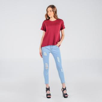Penshoppe Styled Mid-Rise Ripped Skinny Jeans (Faded Denim)