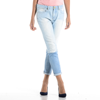 PENSHOPPE Two-toned Cigarette Fit Jeans (Faded Denim)