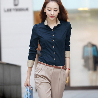 Peter Pan Collar Women's Long Sleeves Slim Navy Blouse (Intl)