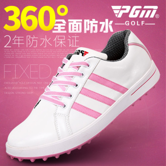 PGM first layer of leather women's No spikes GOLF shoes (Pink color (microfiber leather) [To send shoe bag, color random])