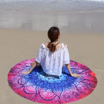 Pilot BT-002 Fun Summer Holidays Thick and Soft 200g MicrofiberReactive Printed Round Beach Towel With Tassel Serviette PrintedYoga Mat Picnic Blanket Beach Swim Towel Shawl 145cm( Blue/RoseGeometric)