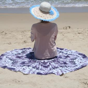 Pilot BT-002 Fun Summer Holidays Thick and Soft 200g MicrofiberReactive Printed Round Beach Towel With Tassel Serviette PrintedYoga Mat Picnic Blanket Beach Swim Towel Shawl 145cm(PurpleGeometric)