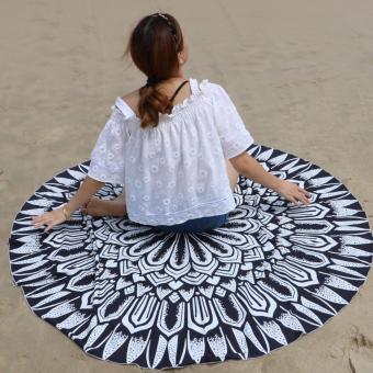 Pilot BT-002 Fun Summer Holidays Thick and Soft 200g MicrofiberReactive Printed Round Beach Towel With Tassel Serviette PrintedYoga Mat Picnic Blanket Beach Swim Towel Shawl 145cm(WonderfulSunflower) - 3