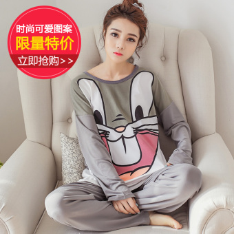 Pink Korean women's long-sleeved cotton tracksuit pajamas (804 # Bugs Bunny)
