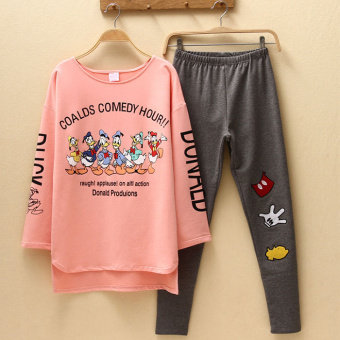 Pink Korean women's long-sleeved cotton tracksuit pajamas (Donald Duck)