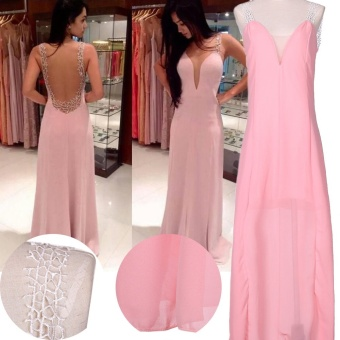 Pink Long Chiffon Bridesmaid Formal Gown Ball Party Evening PromDress (Color:c0) - intl