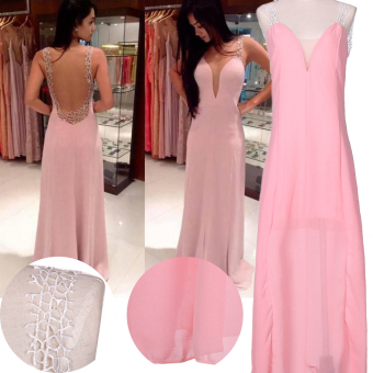 Pink Long Chiffon Bridesmaid Formal Gown Ball Party Evening PromDress - intl