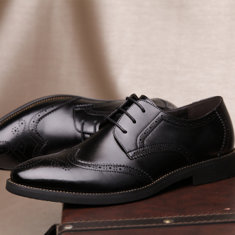 PINSV Genuine Leather Men's Breathable Casual Business Shoes (Black) - Intl - 4